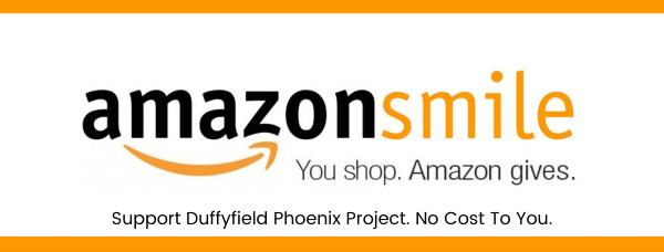 AmazonSmile image saying Support Duffyfield Phoenix Project