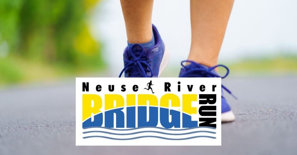 Woman running with blue sneakers and Neuse River Bridge Run logo over the road